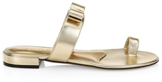Salvatore Ferragamo Louisa Flat Metallic Leather Sandals
