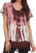Sakkas 776 - Violet Embroidery Tie Dye Sequin Accents Blouse / Top - OS