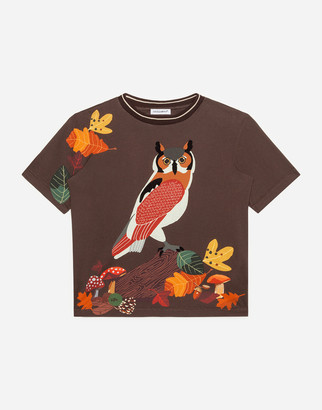 Dolce & Gabbana Jersey T-Shirt With Owl Print
