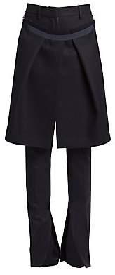 Sacai Women's Melton Wool Pants With Removable Skirt
