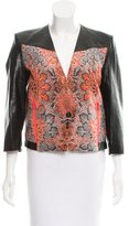 Helmut Lang Leather-Trimmed Structured Jacket w/ Tags