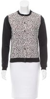 Carven Lace-Accented Button-Up Cardigan