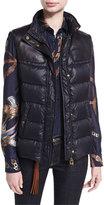 Ralph Lauren Taryn Leather-Trim Down Vest with Fur Collar