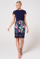 Paper Dolls Ako Navy Tropical-Print Belted Pencil Dress