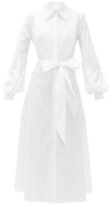 Racil Mamounia Cotton-blend Poplin Tuxedo Shirt Dress - White