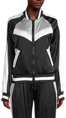 Blanc Noir Amida Reversible Stretch Silk Bomber Jacket