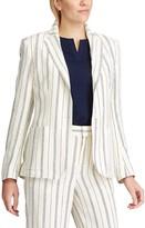 Chaps Women's Striped Linen-Blend Blazer