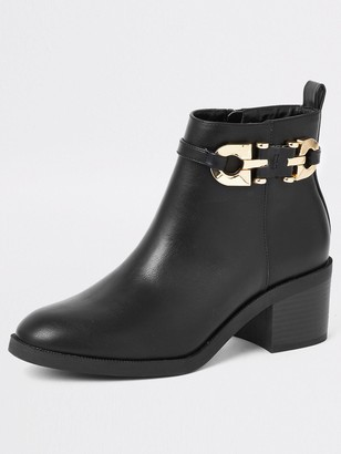 River Island Buckle Ankle Boot - Black
