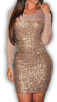 Red Dot Boutique 833 - Long Sleeves Sequins Bodycon Mesh Panel Club Dress Tan