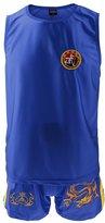 Generic Men Women Boxing Martial Arts MMA Clothes Dragon Embroidered Uniform Vest Shorts Set - / Blue/ Red