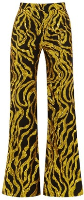 Halpern Sequinned-vine Flared Trousers - Womens - Black Gold