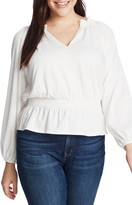 1 STATE Crinkle Texture Smocked Waist Top