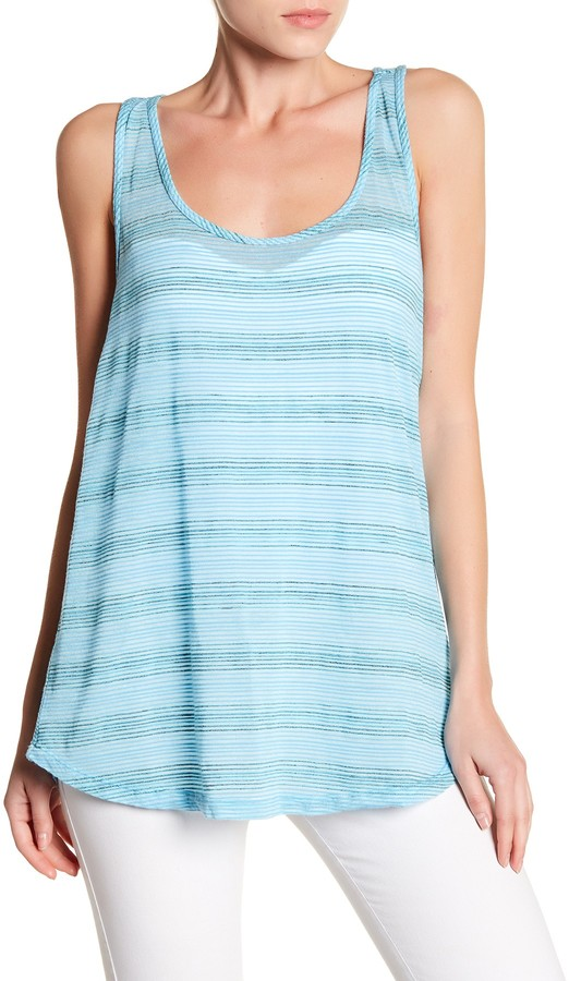 Allen Allen Burnout Knit Striped Tank