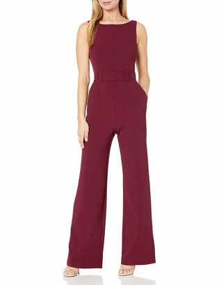 Vince Camuto Women's Kors Crepe Topstitch Double Buckle Belted Jumpsuit