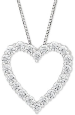"""Grown With Love Lab Grown Diamond Heart 18"""" Pendant Necklace (1/2 ct. t.w.) in 14k White Gold"""