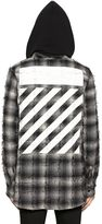 Off-White Plaid Flannel Hooded Shirt W/ Stripes