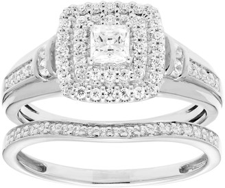 Unbranded 14k Gold 3/4 Carat T.W. IGL Certified Diamond Tiered Engagement Ring Set
