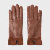 Paul Smith Women's Brown Sheep Leather Suede Panelled Gloves