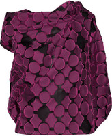 Roland Mouret Eugene Open-back Draped Fil Coupé Cotton And Silk-blend Top - Plum
