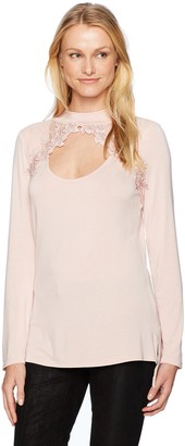Love Scarlett Women's Turtleneck Top with Front Cut Out and Lace Overlay