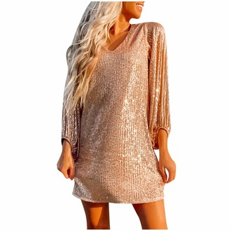 LAIYIFA Midi Dress for Women Fashion Sequins Summer Loose Party Karaoke Dresses Sexy Bead Design Midi Skirts Girls Dating Gifts Beige