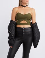 Charlotte Russe Cut-Out Strapless Crop Top