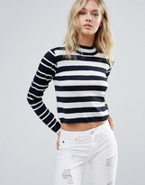 Only Night Sky Mid Neck Stripe Sweater
