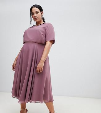 ASOS DESIGN Curve midi dress with 3D embellished neckline