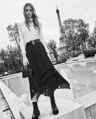 The Kooples Long pleated skirt with polka-dot print