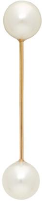 Saskia Diez Gold Two Pearl Barbelle Stud Single Earring