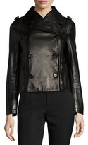 RED Valentino Double-Breasted Leather Moto Jacket