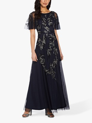Adrianna Papell Beaded Mesh Floral Maxi Gown, Midnight