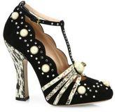 Gucci Ofelia Studded Suede Pumps