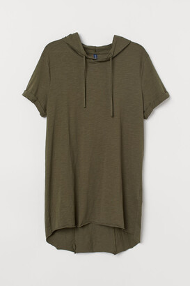 H&M Long Hooded T-shirt - Green