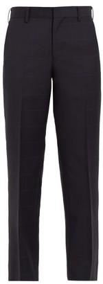 Junya Watanabe Windowpane-check Wool And Mohair Cropped Trousers - Navy