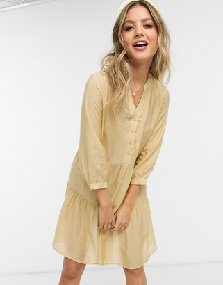 Pieces tiered smock dress in yellow