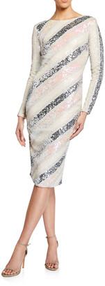 Dress the Population Emery Sequin Asymmetric Stripe Long-Sleeve Dress