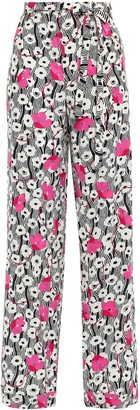 Valentino Floral-print Silk Crepe De Chine Straight-leg Pants