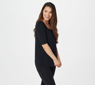 Cuddl Duds Softwear Stretch Elbow-Sleeve Square-Neck Top