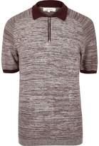 River Island Mens Burgundy textured zip-up polo shirt