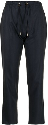 Colombo Wool-Cashmere Blend Drawstring Cropped Trousers