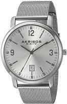 Akribos XXIV Men's AK858SS Round Silver Dial Three Hand Quartz Bracelet Watch