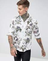 Asos Regular Fit Viscose Floral Shirt With Revere Collar