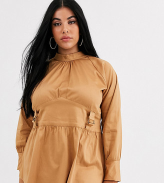 Verona Curve high neck long sleeve blouse with utlity detail two-piece-Stone