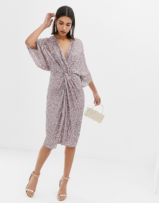 Asos Design DESIGN scatter sequin knot front kimono midi dress-Gray