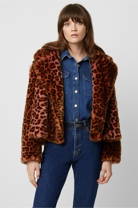 French Connection Analia Ombre Leopard Faux Fur Oversized Jacket
