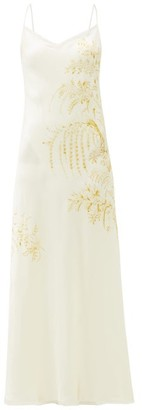 Carine Gilson Floral-print Silk-satin Slip Dress - Womens - White Print