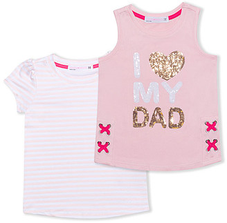 Young Hearts Girls' Tank Tops PINK - Pink 'I Love Dad' Sequin Tank & Stripe Tee - Toddler