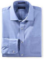 Classic Men's Tailored Fit Solid Supima No Iron Pinpoint Spread Collar-White/Admiral Blue Stripe