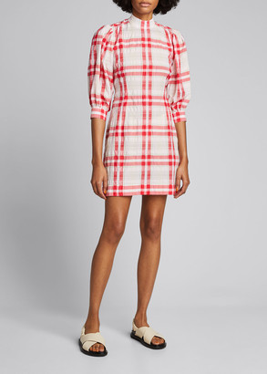 Ganni Seersucker Check Mock-Neck Puff-Sleeve Dress